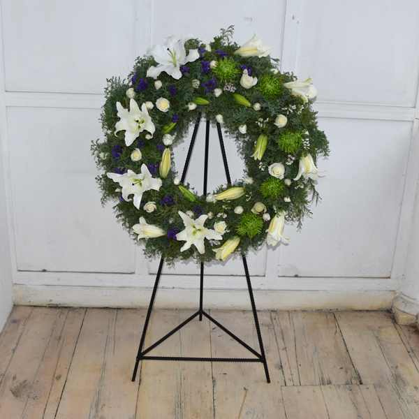 Funeral wreath with lilies