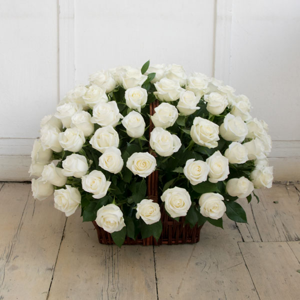 101 white rose in a basket