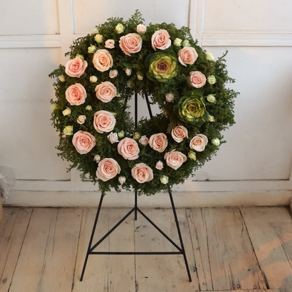 Funeral wreath with pink roses
