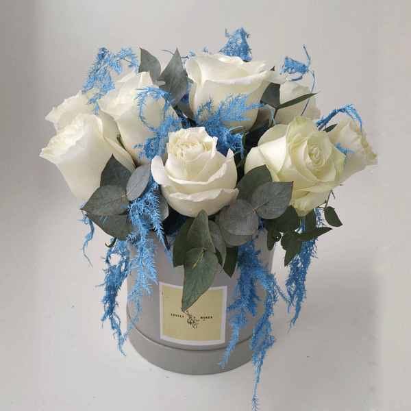 12 white roses with blue asparagus