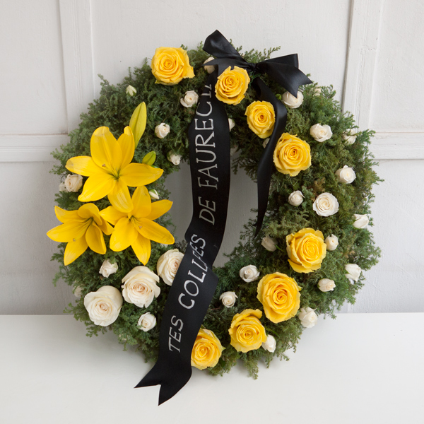 Funeral wreath with yellow lillies
