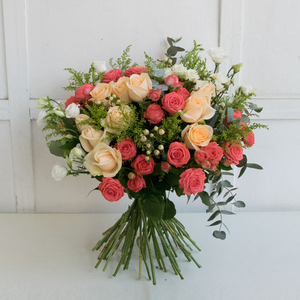 Mix bouquet with orange roses