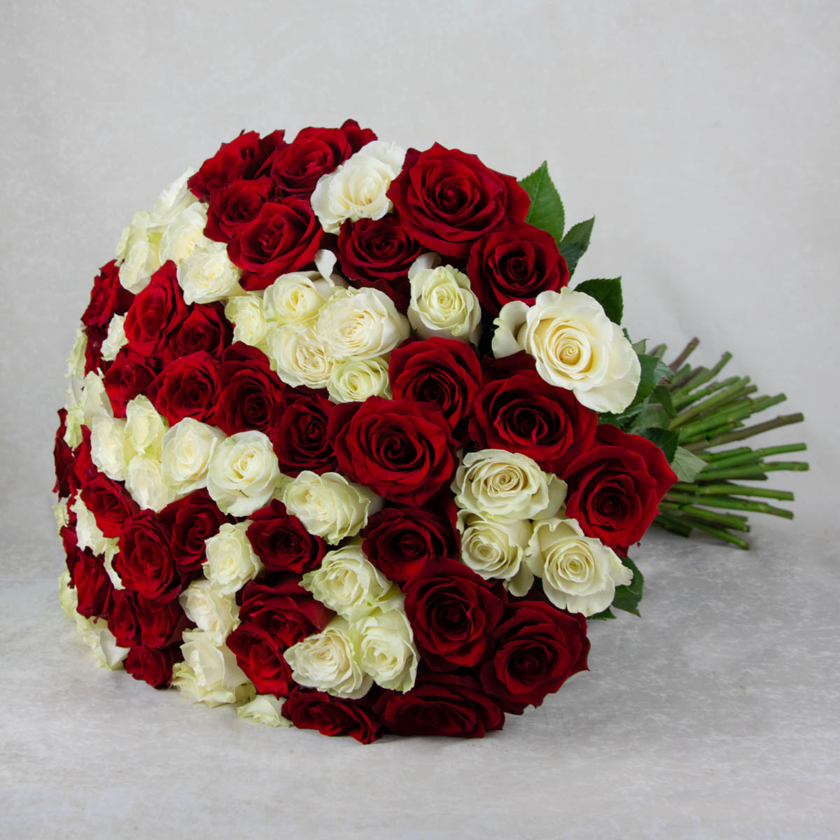 Red and White 81 roses bouquet