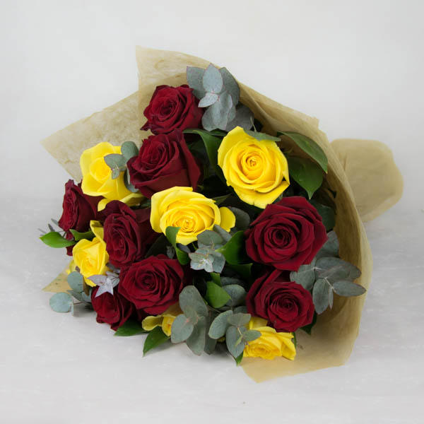 Bouquet of yellow and red roses