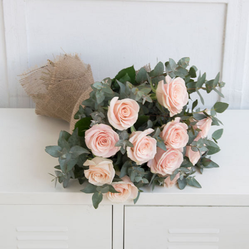 A bouquet of delicate pink roses