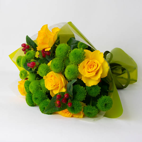 Bouquet with yellow roses and feeling green