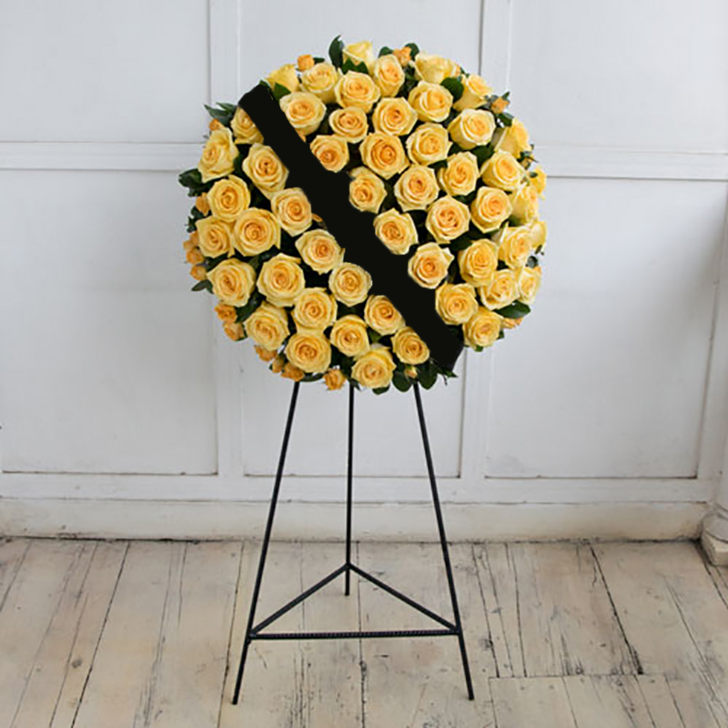 Funeral wreath with yellow roses
