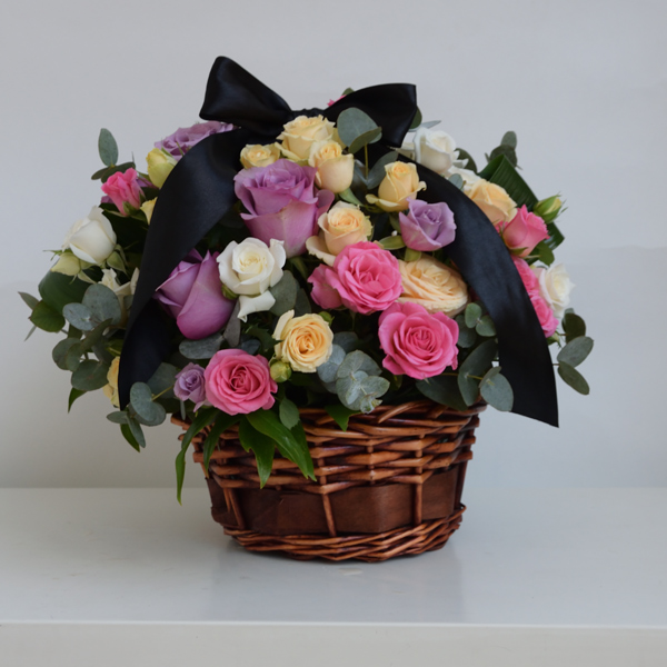 Funeral wreath with colored roses