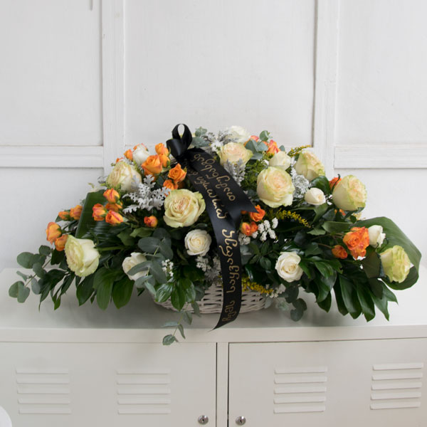 Funeral basket with roses