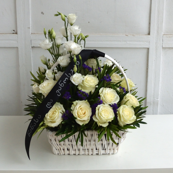 Funeral wreath with white roses