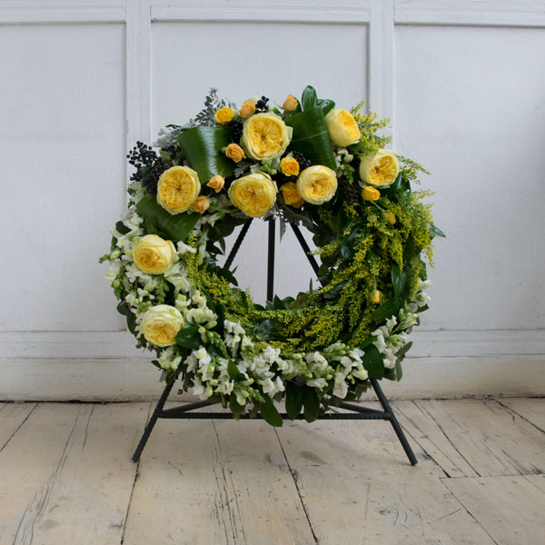 Funeral wreath with David austin roses