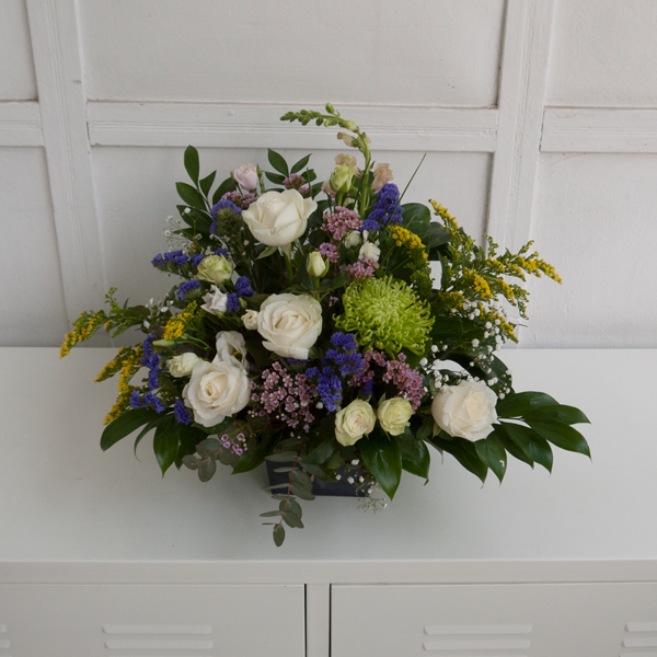 Wreath shaped funeral bouquet