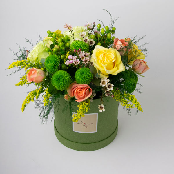 Flowers in green box